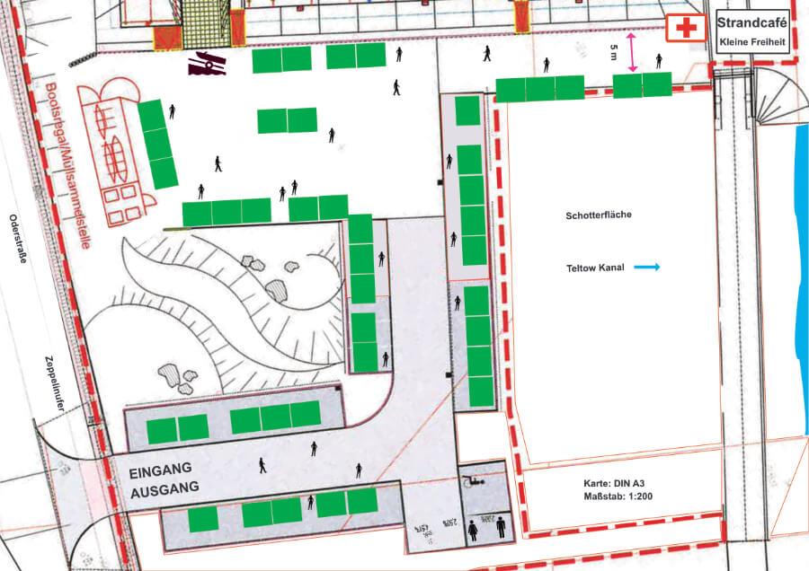 Standplan für den Hafenmarkt Teltow